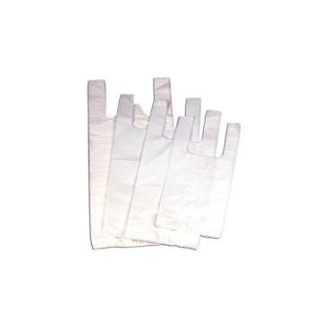 Bolsas de plástico camiseta blanca, fabricada con polietileno
