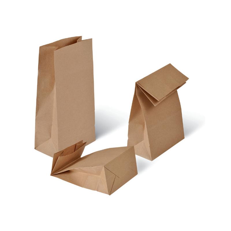 Bolsa de papel kraft para alimentación con base rectangular
