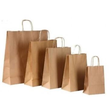 Bolsas de asa rizada en papel kraft liso