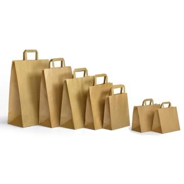 Bolsas de asa plana en papel kraft liso