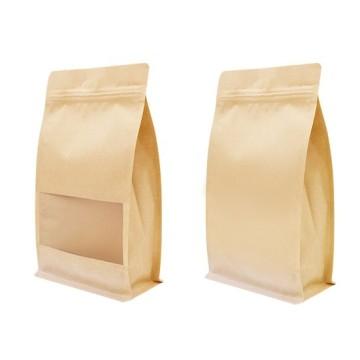 Bolsa de fondo plano kraft con ventana - (flat bottom - Bolsa de caja)